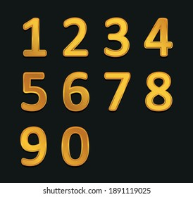 Vector gold metallic numbers set.