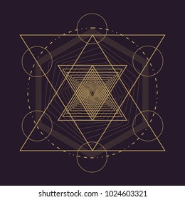 Vector gold monochrome design abstract mandala sacred geometry illustration triangles. Unique Merkaba Seed of life signs isolated dark brown background.
