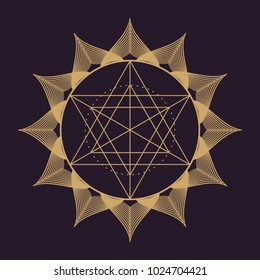 Vector gold monochrome design abstract mandala sacred geometry vector illustration Flower of life. Merkaba lotus isolated dark brown background.