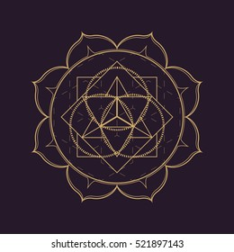 vector gold monochrome design abstract mandala sacred geometry illustration triangle circles Merkaba lotus isolated dark brown background