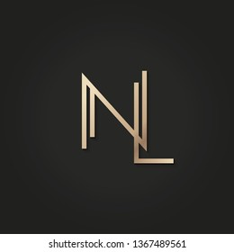vector gold monogram of NL