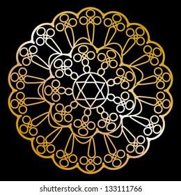 Vector gold napkin on black