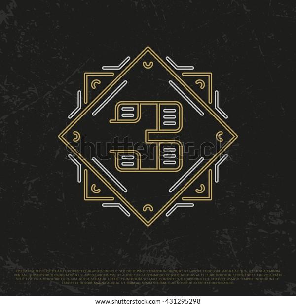 Vector Gold Number 3. Sign Three. Third monogram