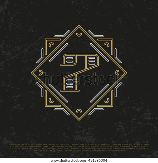 Vector Gold Number 7. Sign Seven. Seventh monogram