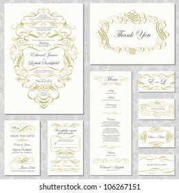 Vector Gold Ornament Frame Set. Easy to edit. Perfect for invitations or announcements.