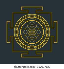 vector gold outline hinduism Sri yantra Sri Chakra illustration triangles diagram isolated on black background