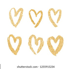 Vector gold paint hearts set isolated on white background. Gold hand drawn hearts. Brush smears. Glitter design elements for Valentine's Day, wedding, poster, invitation, engagement cards.