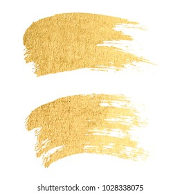 Vector gold paint smear stroke stain set. Abstract gold glittering textured art illustration.
