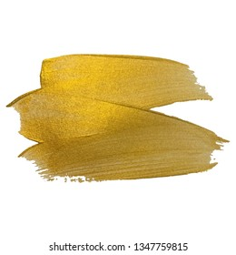 Vector gold paint smear stroke stain . Abstract gold glittering textured art illustration.  EPS10