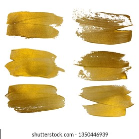 Vector gold paint smear stroke stain set. Abstract gold glittering textured art illustration. Abstract gold glittering textured art illustration. EPS10