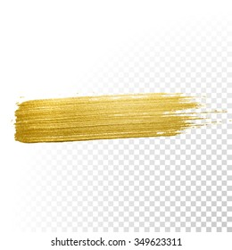 Vector gold paint smear stroke stain. Abstract gold glittering textured art illustration. Abstract gold glittering textured art illustration.