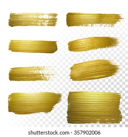 Vector gold paint smear stroke stain set. Abstract gold glittering textured art illustration. Abstract gold glittering textured art illustration.