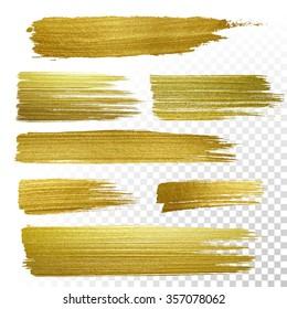 Vector gold paint stroke set
