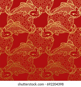 Vector gold pattern with japanese carps koi on red - NON seamless pattern washi paper for scrapbooking or cards design backdrop