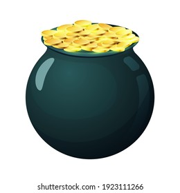 Vector Gold Pot Isolated On White background Premium vector