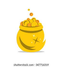 Vector A Gold Pot of Money Cartoon Illustration. Coins spilling the golden Pot Isolated on a White Background. Branding Identity Corporate Logo