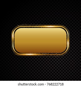 Vector gold rectangle frame with round corner. Shining banner. Isolated on black transparent background. Vector illustration