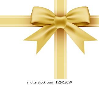 Vector gold ribbon and bow knot