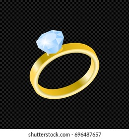 Vector gold ring with diamond isolated on transparent background. Wedding yellow metal ring metal. 3D vector illustration.