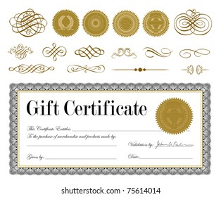 Vector Gold Seal and Certificate Set. Easy to edit. Perfect for invitations or announcements.
