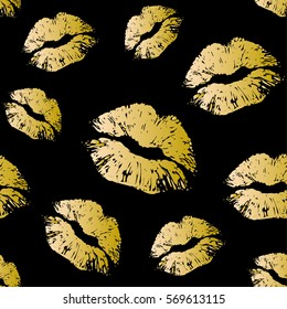 Vector gold seamless pattern on black background. Lips prints