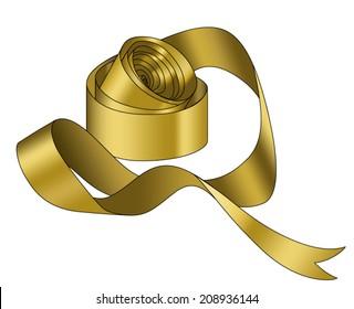 vector gold silk ribbon roll
