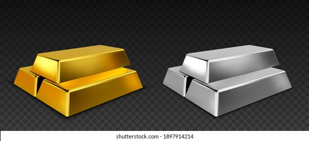 Vector gold and silver bars isolated on dark transparent background