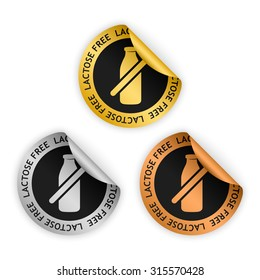 vector gold, silver, bronze bent stickers with symbol of lactose free