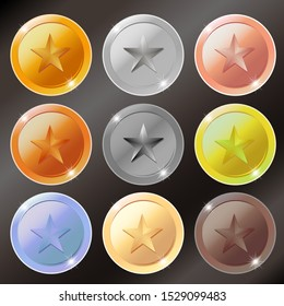 Vector gold, silver, bronze and platinum star medals with text space isolated on black background