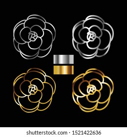 Vector gold and silver camellia flower.