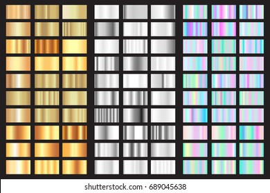 Vector gold, silver and holographic swatches gradient set. 90 foil texture modern style collection. Poster bright template design. Abstract art background
