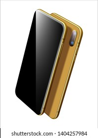 Vector Gold Smartphone Vector Mockup. Can use for Printing, Website, Presentation Element. for App Demo on Phone. Modern Visionary Mobile Phone on White.