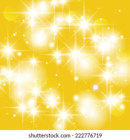 Vector gold sparkle glitter background. Glitter stars background.