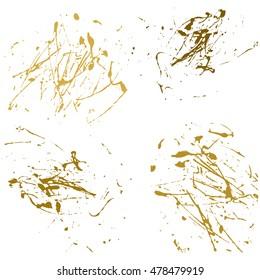 Vector gold splatter paint abstract on white background set hand drawing design art, stain splash ink golden color grunge texture, spray pattern