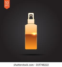 Vector gold sprayer bottle on dark background