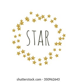Vector gold star glittering wreath
