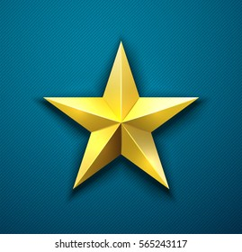 Vector gold star illustration. Metal star badge pinned to dark blue textile or military uniform. Achievement award design. Good for memorial day greeting card.