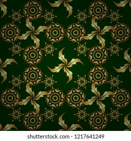Vector gold star pattern, star decorations, golden grid on a green background. Luxury gold seamless pattern with stars.