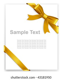 Vector gold tape and bow, no size limit. proportion of A4 format vertical.