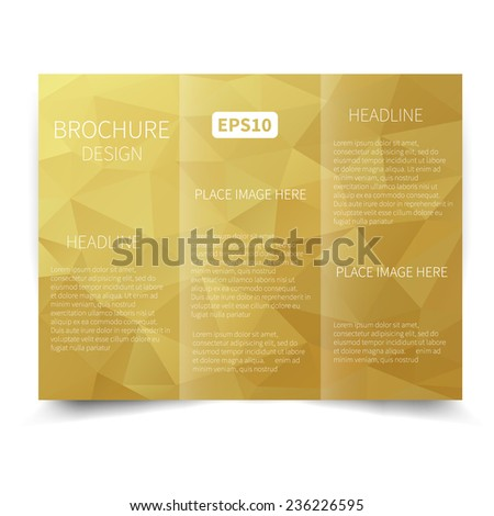 vector gold trifold brochure design template stock vector royalty