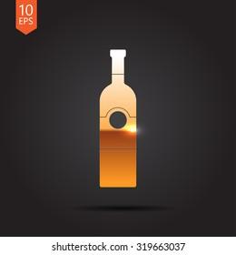 Vector gold vine bottle template on dark background