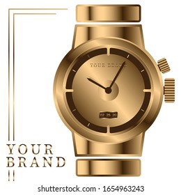 Vector of a gold watch with your own brand name
