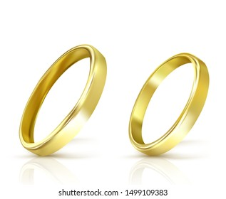 vector gold wedding rings isolated on white