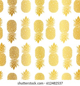 Vector Gold White Pineapples Geometric Vector Repeat Seamless Pattrern in Gold Color. Great for fabric, packaging, wallpaper, invitations.