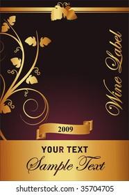 vector gold wine label