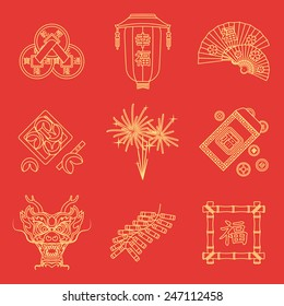 vector gold yellow outline on red traditional chinese new year icons set feng shui coins lantern fans dragon mask fireworks firecrackers bamboo frame fortune cookies red envelope coins