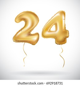 vector Golden 24 number twenty four metallic balloon. Party decoration golden balloons. Anniversary sign for happy holiday, celebration, birthday, carnival, new year. art