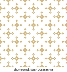 Vector golden abstract geometric seamless pattern with small stars, diamond shapes, rhombuses. Luxury white and gold background in oriental style. Simple graphic floral texture. Ornamental design