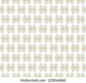 Vector golden abstract geometric seamless pattern. Simple white and gold ornament texture with triangles, diamond shapes, net, grid. Stylish modern geometry background. Luxury repeat design for decor
