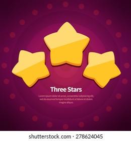Vector golden achievement  three stars on dark red background with circles.
